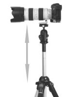 Tripod with center column raised