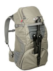 Camera tripod mounted on Venture-35 backpack