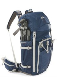 Side-mounted tripod on camera backpack