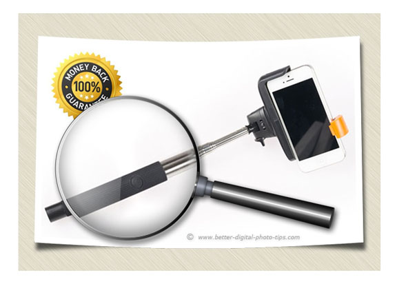 Close-up magnified view of Bluetooth Selfie Stick shutter release button