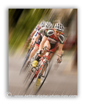 Added blur wtih software adds to the feel of motion in racing pictures