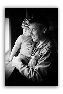 Black and white portrait of father and daughter