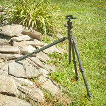 The Rocketfish tripod legs can be set at independent angles for UN-even terrain