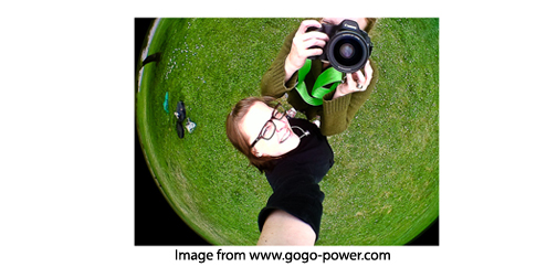 Example of photo taken with a fish eye lens and a cell phone camera