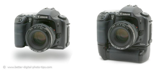 Comparison of DSLR with and without a battery grip