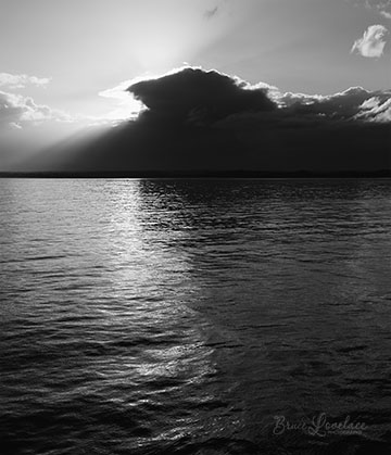 Alaska sky water black and white