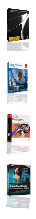 Composite photo of several digital photo editing software boxes