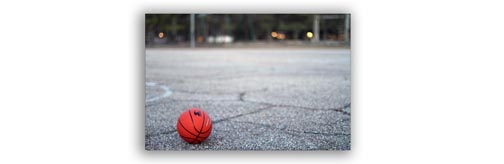 Basketball on Playground - Depth of Field Example