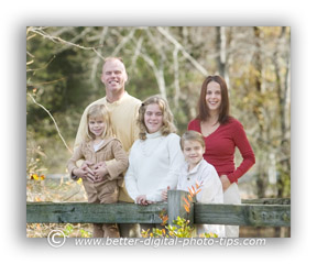 family portrait in the woods
