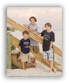 Family Portrait Pose of Three kids on the Beach