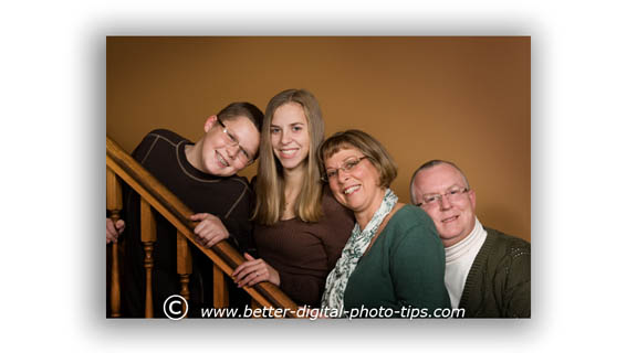 Family portrait pose on steps