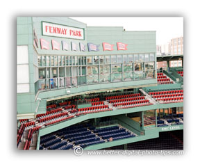 Photo of the sterile press box and Fenway Park