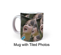 Photo a a mug with tiled images