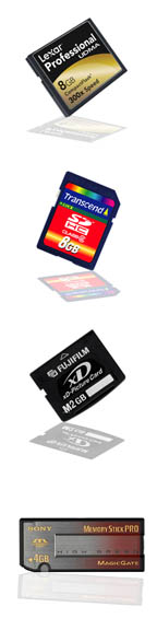 Composite image of memory cards for review