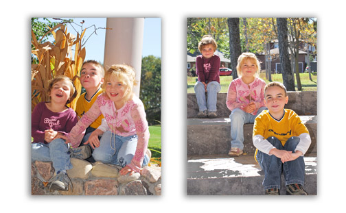 Outdoor family photography of 3 kids