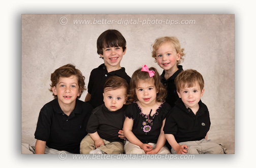 Good group pose for 6 children