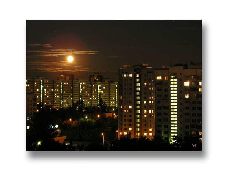 Moon and cityscape