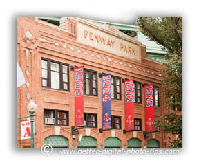 Picture of the brick facade on the outside of Fenway Park