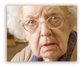 Photo of old confused woman