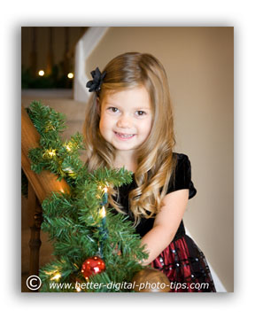 Pose of child with garland background