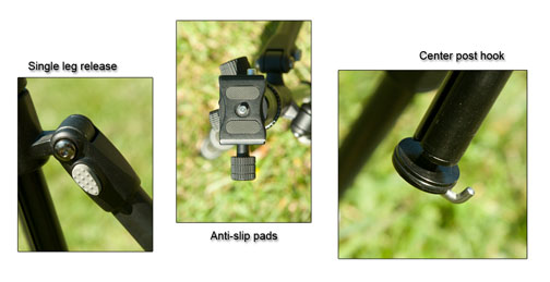Three features of the Rocketfish carbon fiber tripod are single leg releases, anti-slip pad, and center-post hook