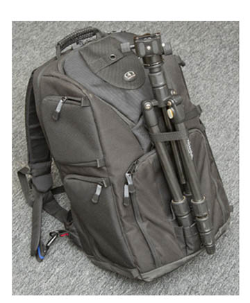 Rocketfish Tripod on Tamrac Backpack
