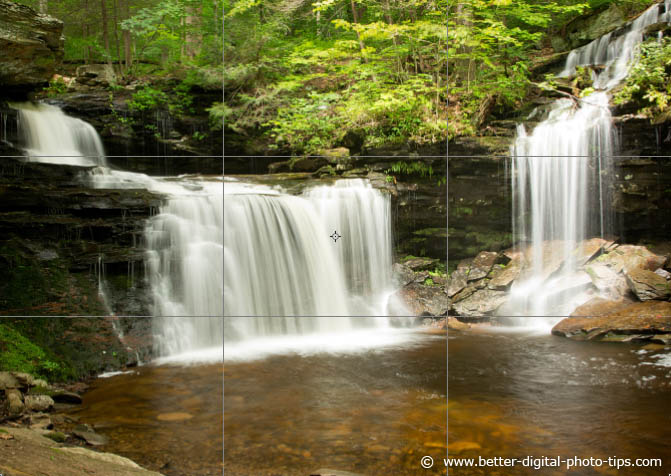 Example of the Use of The Rule of Thirds in Photography - Waterfall Composition