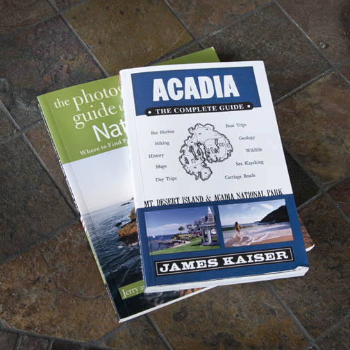 Two travel photography books on Acadia national park