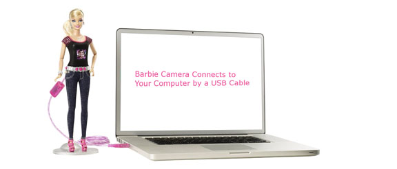 USB Cord Connects Barbie Camera to Computer