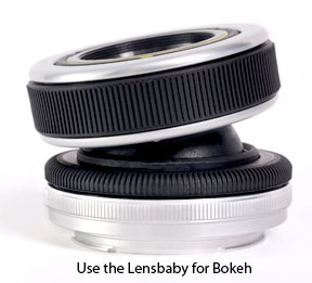 Use the lensbaby to get good bokeh