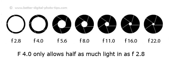 Each change in aperture by one f-stop equates to a change in light by a factor of two