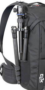 Deep tripod pouch on outside of camera backpack