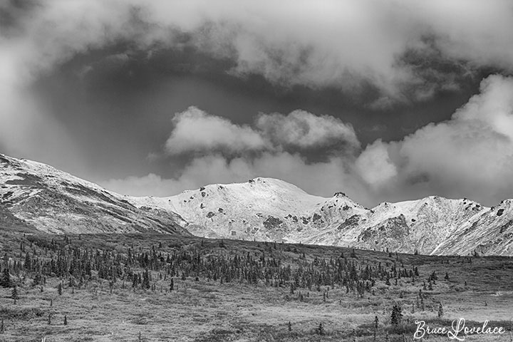 black and white landscape photo of Alaska