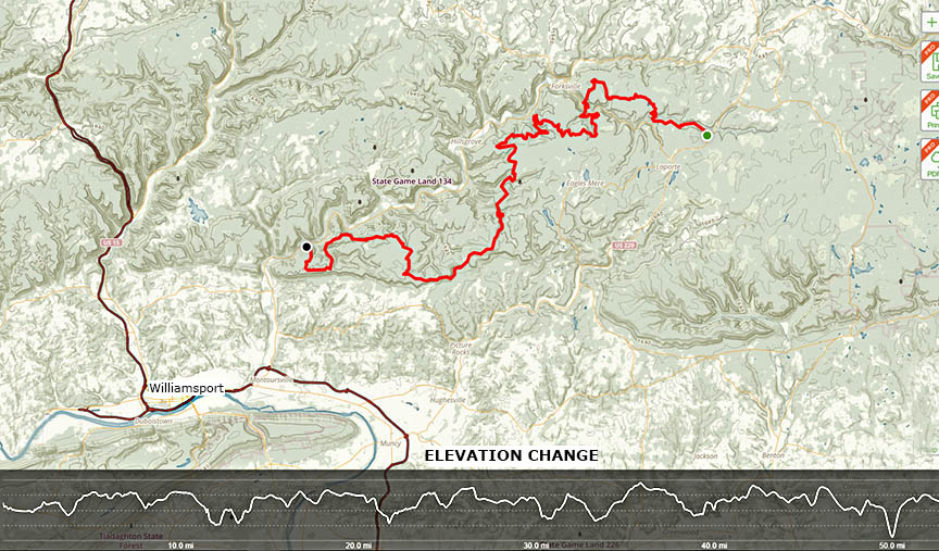 Elevation change map Loyalsock-trail
