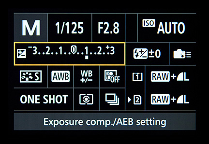 Auto exposure compensation setting