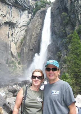 Family Portrait in Front of Waterfall