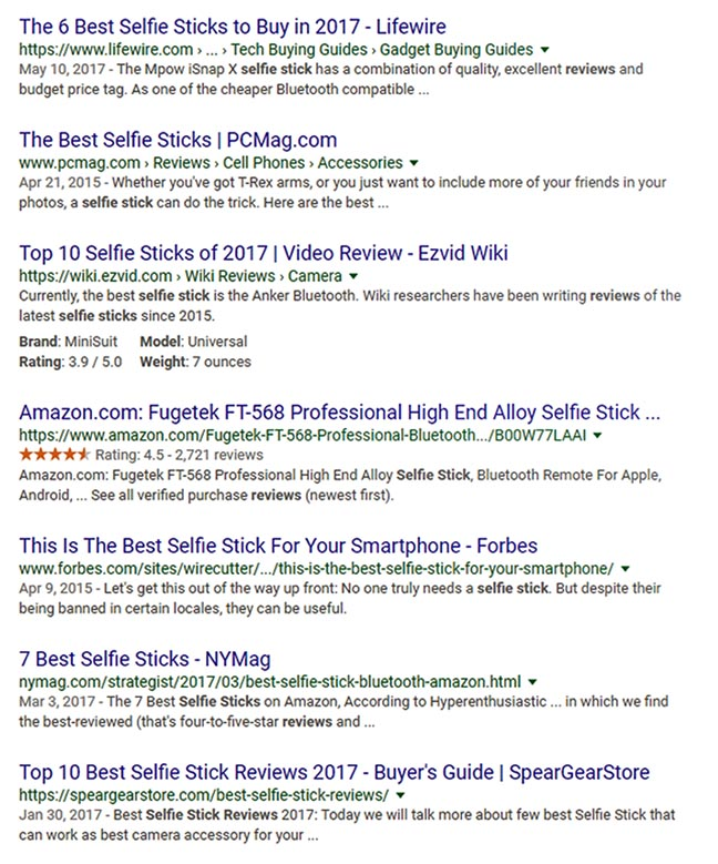 Search engine results for selfie stick reviews