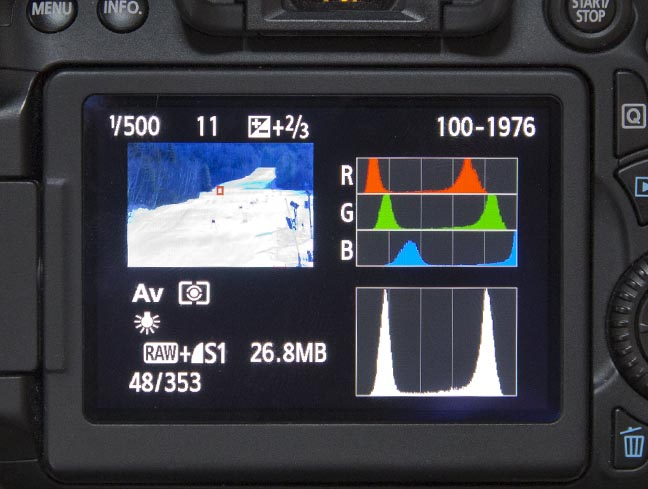 Color and simple histogram on camera LCD screen