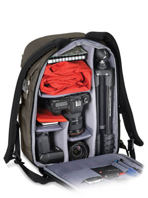 Inside camera backpack tripod storage