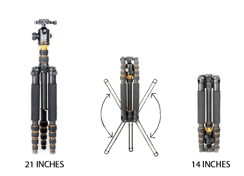 Travel tripod with folding legs