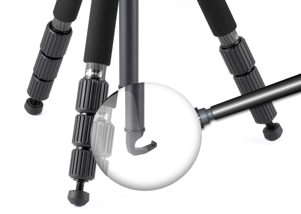 Use the center column hook to hang something heavy on and improve the stability of your tripod