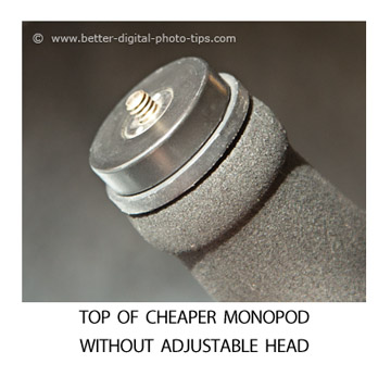 Top of monopod without adjustable head