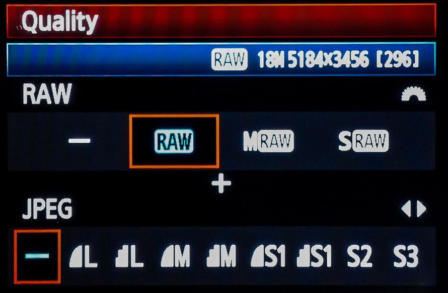 Raw camera setting mode