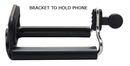 Bracket to hold phone for secure selfie photo