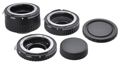 Extension tubes are stackable and can be stored with lenscaps on both ends to keep them dust free