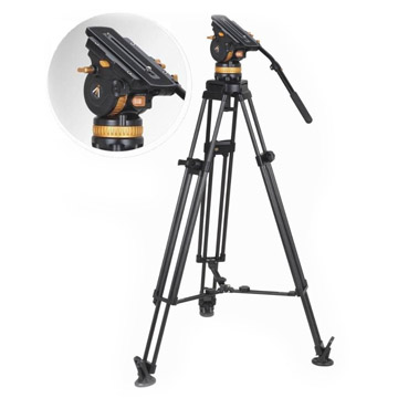Video tripdo with tripod head close-up