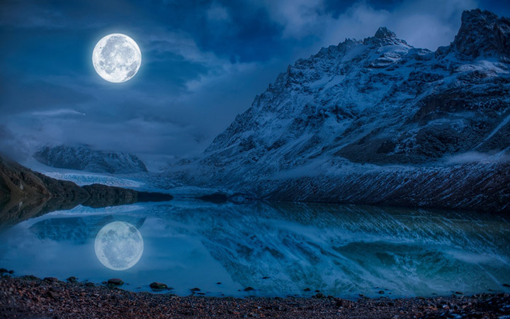 Water moon river mountain