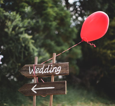 Wedding Photography - Photo of a balloon and wedding sign