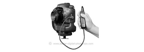 Camera on tripod with cable release