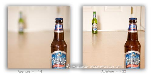 Comparison of deep and narrow depth of field